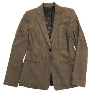 Elie Tahari Muted Brown Wool Single Button Blazer